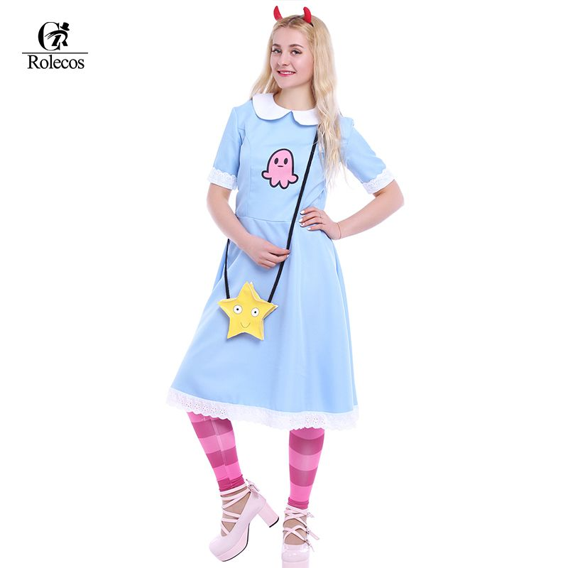 American Anime Star vs. The Forces of Evil Women Cosplay Costume Princess Star Butterfly Blue Long Dress With Messenger Bag