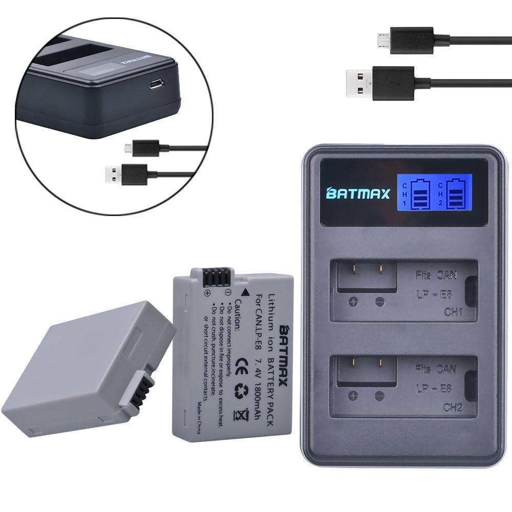 2Pcs 1800mah LP-E8 LPE8 LP E8 Battery Batterie AKKU + LCD Dual Charger for Canon EOS 550D 600D <font><b>650D</b></font> 700D X4 X5 X6i X7i T2i T3i