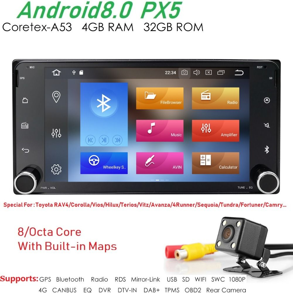 Newest PX5 Android8.0 car Autoaudio for toyota corolla 2 Din Universal car radio navigation Bluetooth Wifi car stereo gps player