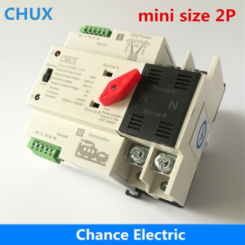 Dual Power Switch CXS2P-100A Mini ATS 2P Automatic Transfer Switch Electrical Selector Switches Din Rail Type ATS 63A 100A