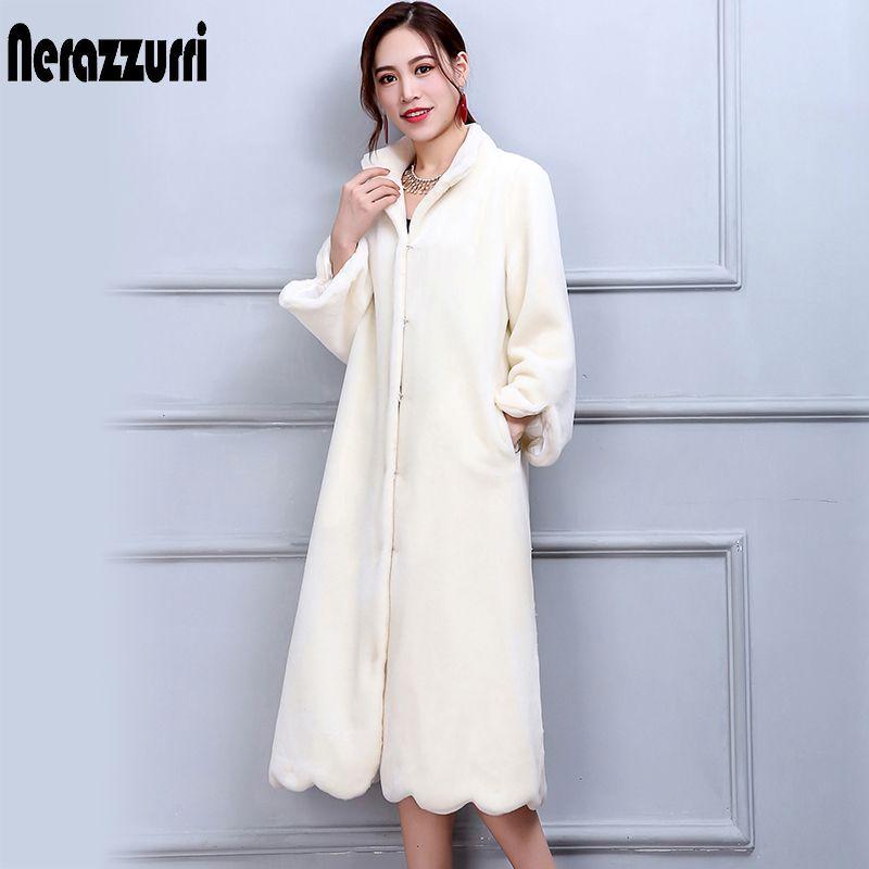 Nerazzurri Winter Echt Pelzmantel Frauen Lange Elegante Warme große Größe Wolle Schafe Mantel 5XL 6XL 7XL Weiß Echtem Lamm pelz Mäntel