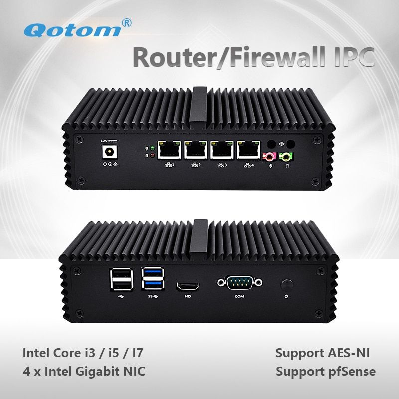 Qotom Mini PC Q300G4 Core i3 i5 i7 with 4 Gigabit NIC Support AES-NI Pfsense as Router Firewall Fanless Small Computer PC Box