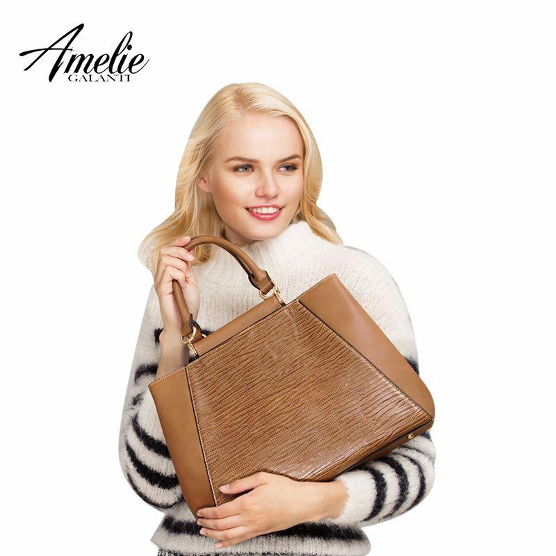 AMELIE GALANTI Frauen Handtaschen Vintage Casual Totes Große Kapazität Harte PU Leder Frauen Taschen Große Kapazität Umhängetaschen Frauen
