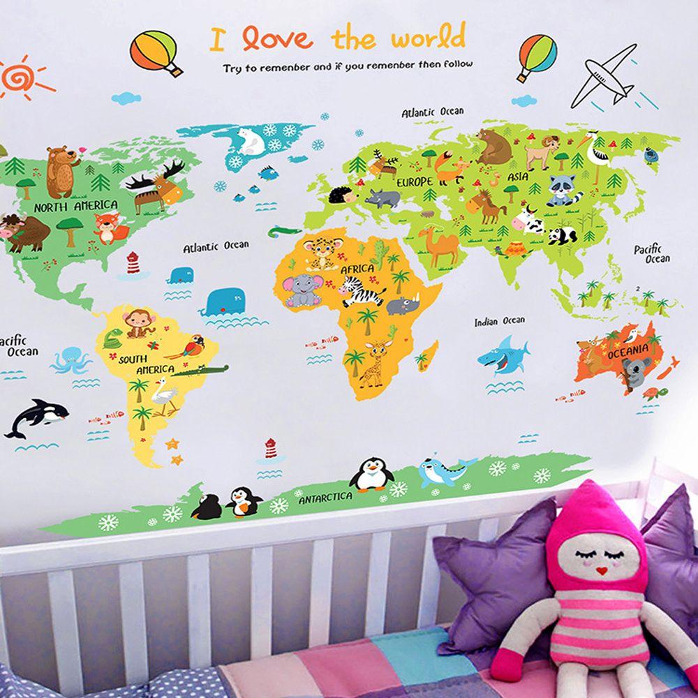 Dessin animé carte du monde PVC bricolage auto-adhésif vinyle Stickers muraux chambre décor à la maison pour enfants chambre décoration Art mur sticker Mural
