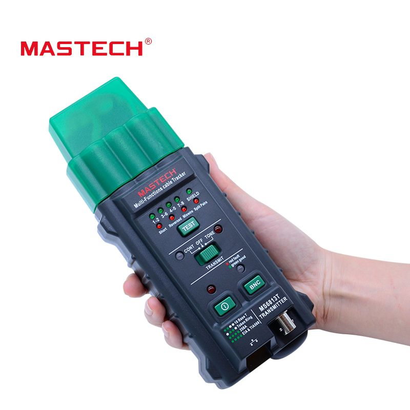 Free shipping Network Cable <font><b>Tester</b></font> MASTECH MS6813 Multi-Functions Network Cable Telephone Line <font><b>Tester</b></font> Detector Transmitter RJ45