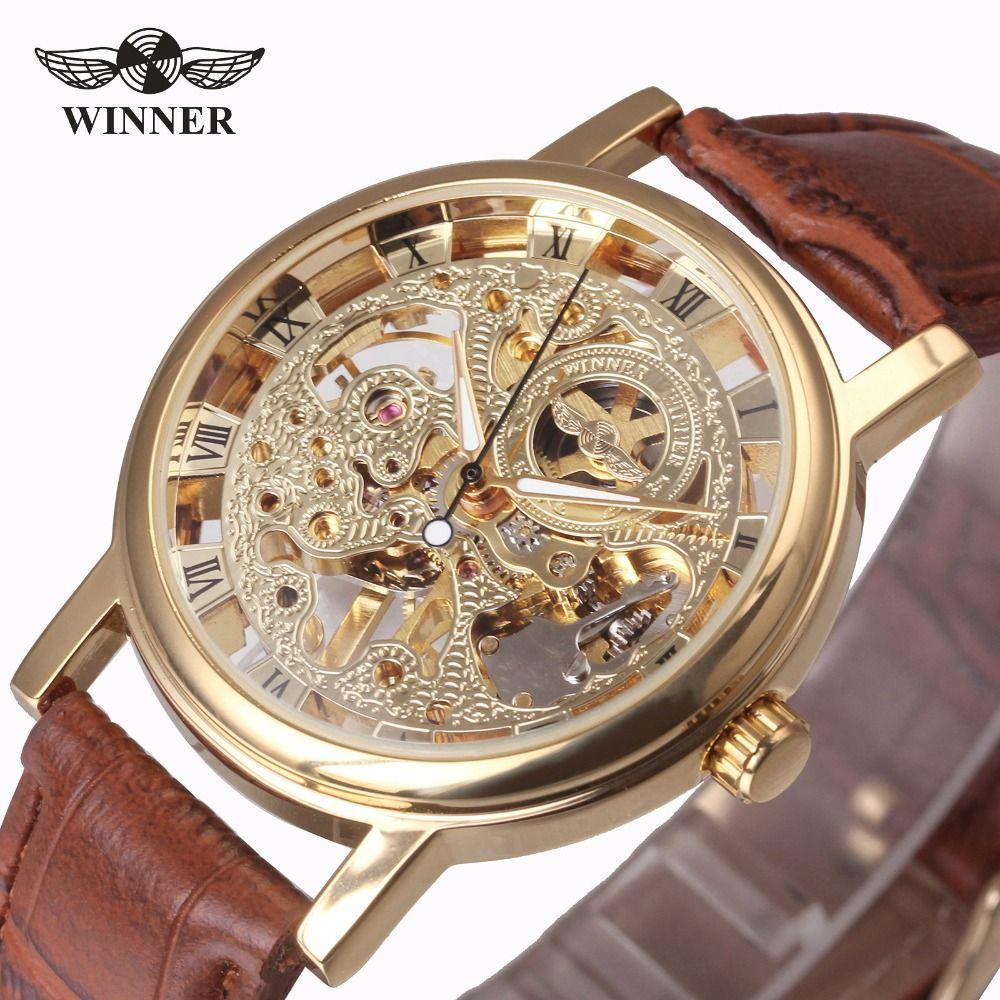 2017 New Hot Sale Skeleton Fashion <font><b>Mechanical</b></font> Men Watch Winner Luxury Branded Business Leather Strap Wristwatch CLASSIC GOLD