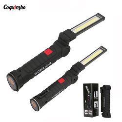 Portable lampe de Poche USB Torche LED Rechargeable Lampe de Travail Magnétique COB Suspendus Crochet Lanterna Pour Camping En Plein Air Voiture De Réparation Lampe
