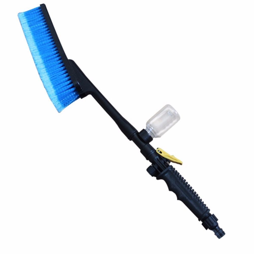 1pc Blue Car Wash Brush Auto Exterior Retractable Long Handle Water Flow Switch Foam Bottle Car Cleaning Brush New