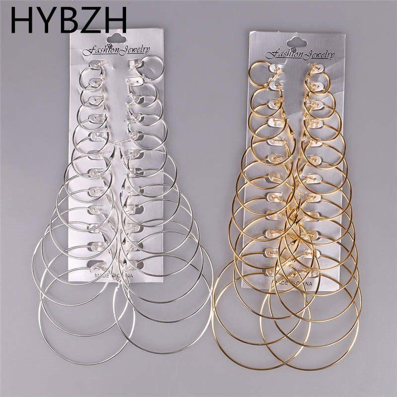 HYBZH 12 paires/lot coeur lune boucles d'oreilles ensembles femmes grand cercle suspendus boucles d'oreilles pendentif Brincos Aros livraison directe