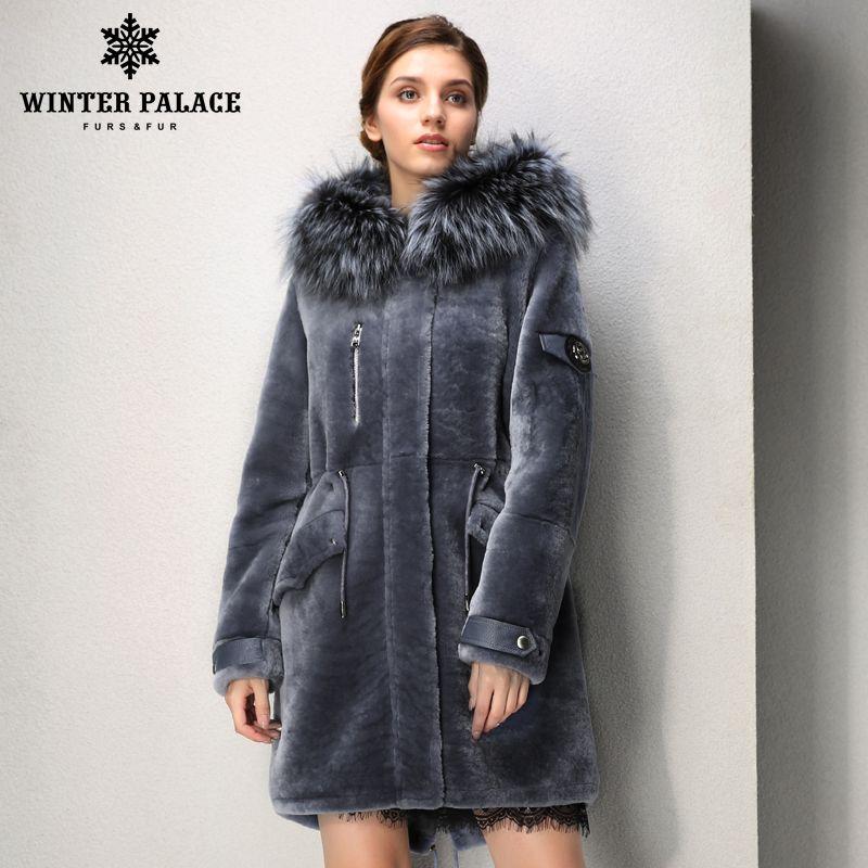 Designer absatz mode herbst lange mouton pelzmantel casual kleidung pelz mäntel frauen Fuchs pelz hut pelz mäntel WINTER PALACE