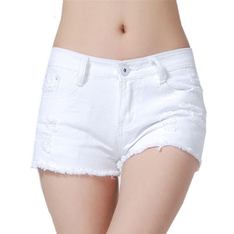 Mode bas Wasit Sexy trous lavage Jeans Slim hanche Denim Shorts femmes été déchiré noir blanc couleur pantalon court pantalon