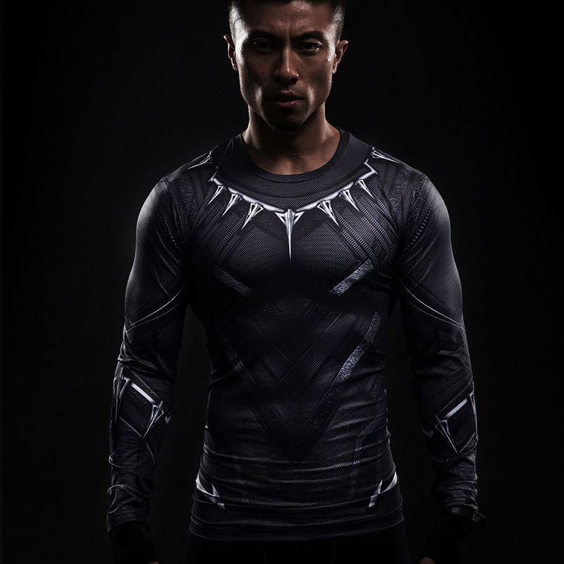 Noir Panther 3D imprimé T-shirts à manches longues Captain America Cosplay guerre civile tee Halloween Costumes Compression mâle hauts