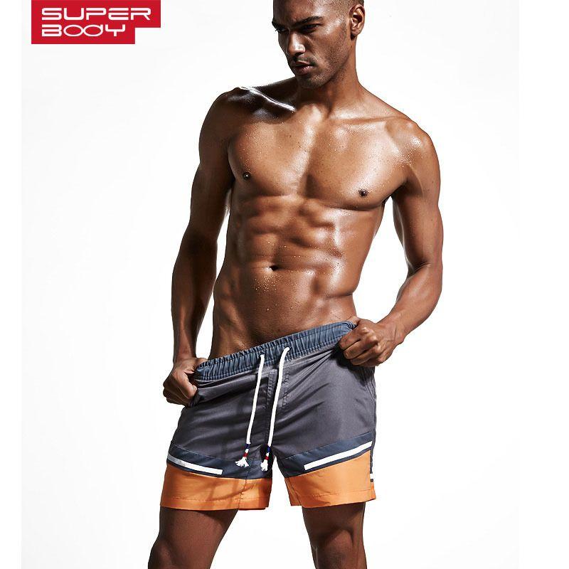 SUPERBODY Venta Caliente Diseño Surf Beach Shorts de Baño de Playa Troncos de Natación Masculinos Traje de Baño de Los Hombres traje de Baño