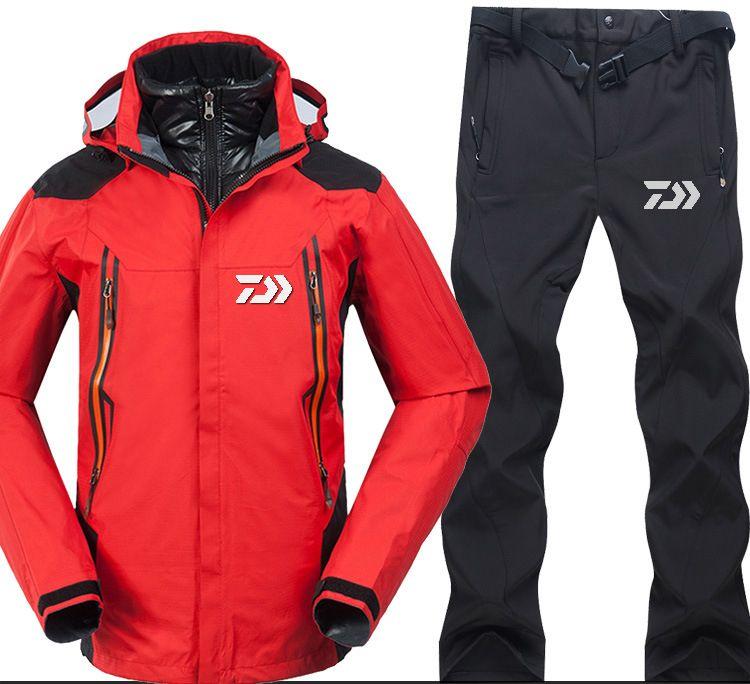 2018 marke Daiwa Angeln Kleidung Sets Männer Atmungsaktive Sport Tragen Set Wandern Winddicht Dawa Angeln Jacke Und Hosen