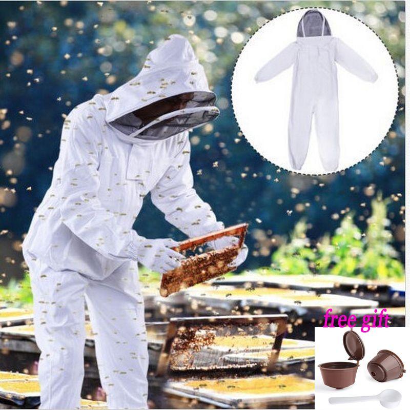 Пчеловод куст accossories белый хлопок Пчеловодство куртка Veil пчеловод оборудования Инструменты Hat рукавом костюм со шляпой XL, XXL