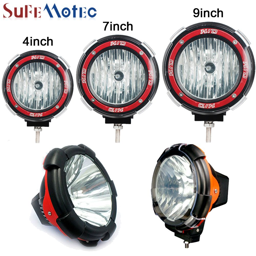 SufeMotec 2Pcs 35W 55W 4'' 7'' 9'' Inch HID Work Light Spot Flood Xenon H3 Lights For Off road SUV Truck ATV Headlight 12V