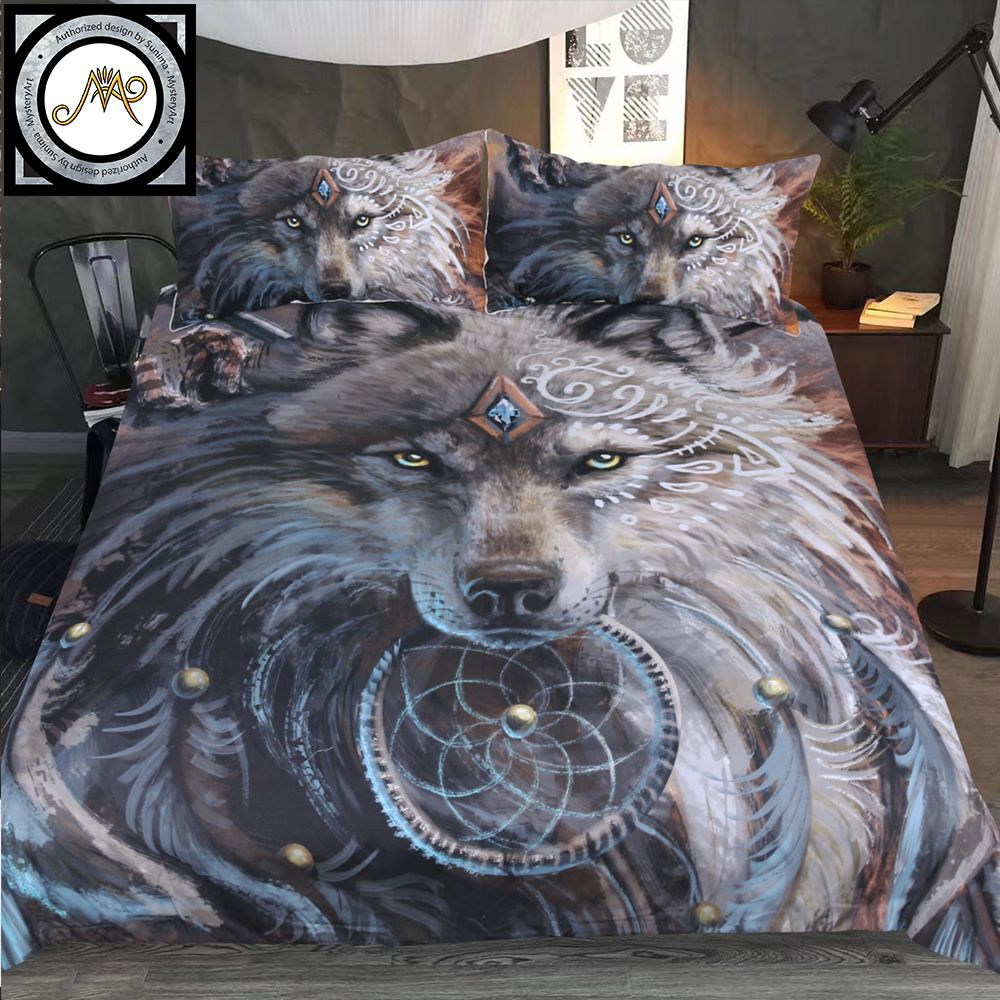 <font><b>Wolf</b></font> Warrior by SunimaArt Bedding Set Native American Duvet Cover Indian <font><b>Wolf</b></font> With Feather Dreamcatcher Bed Set 3pcs Bedclothes