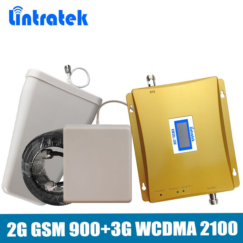 65dB Dual Band Repeater (EDGE) 2G GSM 900mhz+(HSPA)3G UMTS WCDMA 2100mhz Mobile Signal Booster full kit with Antenna+15M Cable
