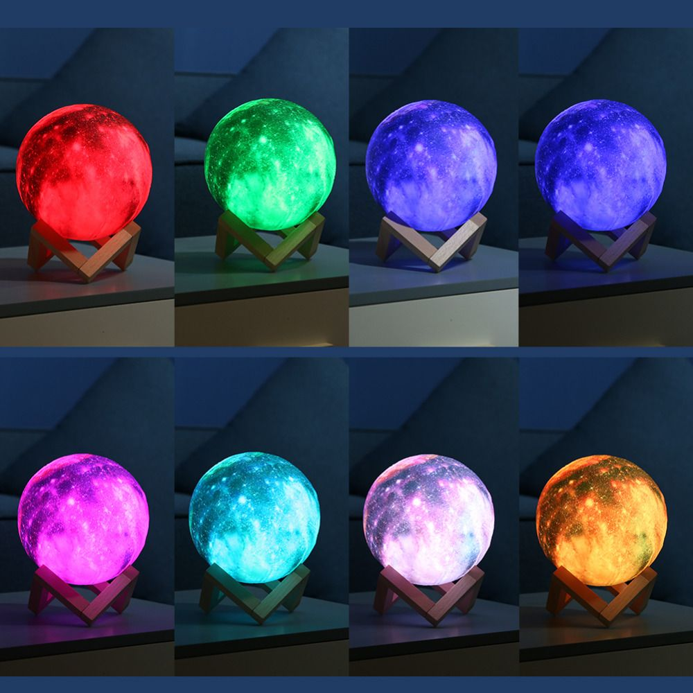 Nouvelle Arrivée 3D Imprimer Étoiles Lune Lampe Coloré Changement Tactile USB LED Nuit Lumière Galaxy Lampe Home Decor Creative Cadeau dropshipping