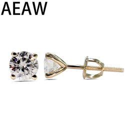1.0 Cttw Bulat Yang Sangat Baik Longgar Moissanite Anting-Anting 14 K Kuning Emas Stud Anting-Anting untuk Wanita Moissanite Perhiasan