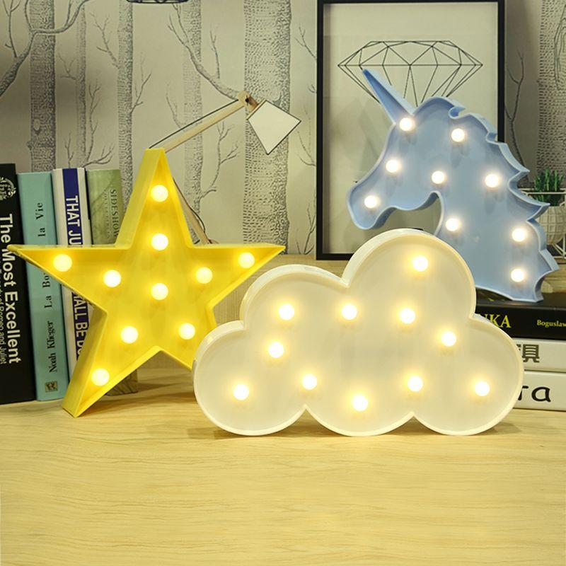 LED Wolke Sterne Einhorn Flamingo Mond Lampe 3D Nacht Licht Festzelt Brief Schreibtisch Licht Tisch Lampen Dekoration Luminaria Nachtlicht