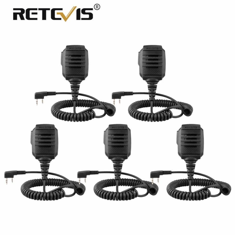 5 pcs New Retevis RS-114 IP54 Waterproof Speaker Microphone For Retevis H777 RT3 RT27 RT22 RT81 RT80 For Baofeng Ham Radio Mic