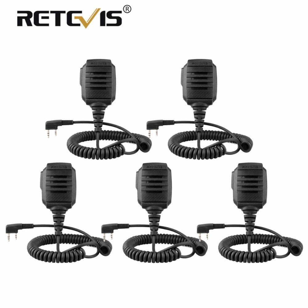 5 pcs New Retevis RS-114 IP54 Waterproof Speaker Microphone For Retevis H777 RT3 RT27 RT22 RT81 RT80 For Baofeng Ham Radio Mic