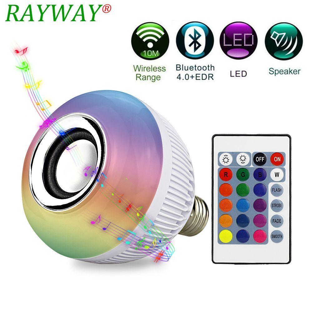 RAYWAY Haut-Parleur À Puce Ampoule Musique Lumière Dimmable E27 12 W RGB Sans Fil Bluetooth Haut-Parleur Ampoule Musique Jouer LED Lumière Lampe pour la Chambre