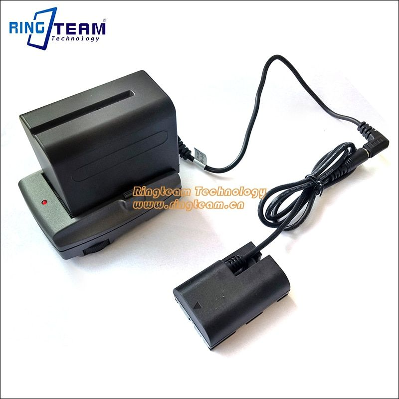 F970 Battery + LP-E6 DR-E6 DC Coupler + Power Transfer Hold Charger Plate for Canon EOS 5D Mark II III 5D2 5D3 6D 60D 7D Cameras