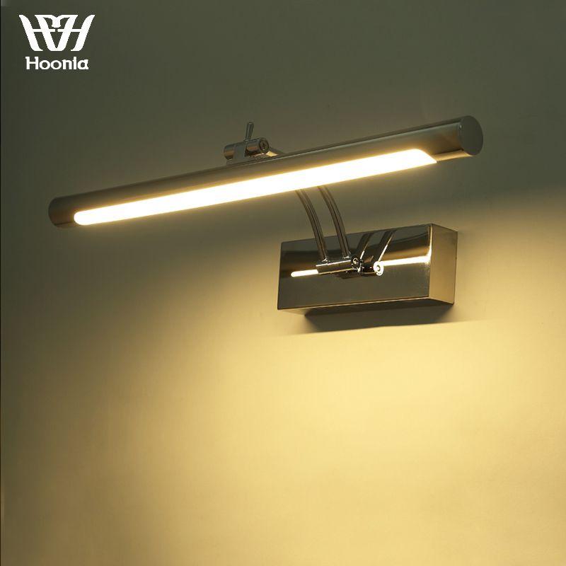 Livraison gratuite 7 W LED miroir lumière 40 CM mode Style salle de bain applique murale 220 V mur LED lampe en acier inoxydable matériel