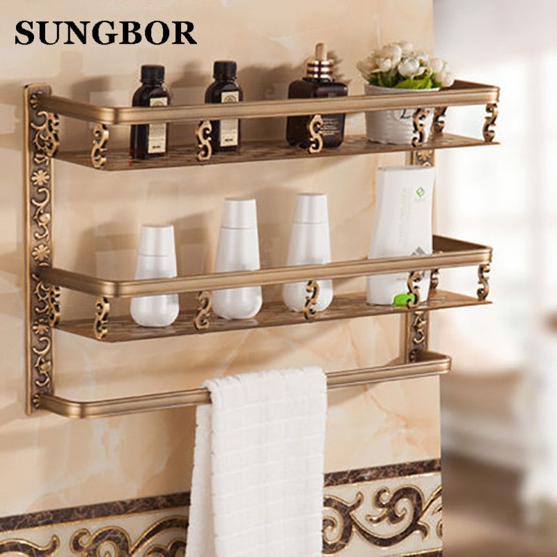 Bathroom shelf 40cm length antique aluminum bathroom corner shelf bathroom holder shower room basket bathroom accessories