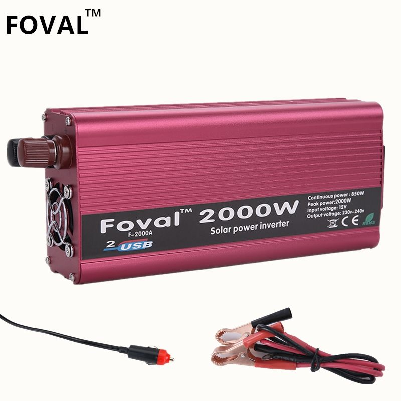 Inverter 2000W Dual USB Car Inverter 12v 220v DC to AC Power Inverter Charger Vehicle Power <font><b>Supply</b></font> Switch