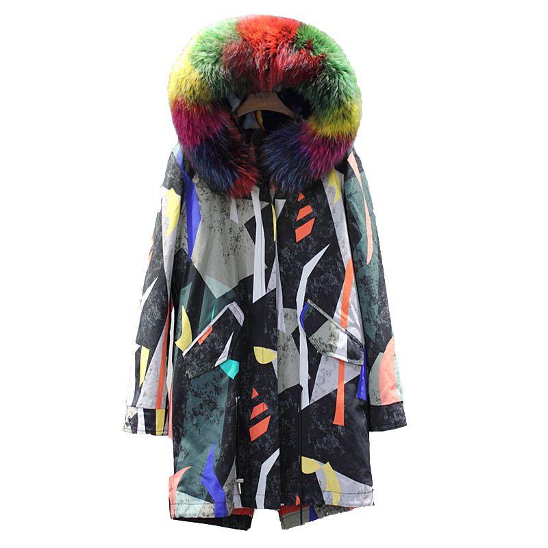 Detachable natural mink fur liner parkas women multi rainbow print fur coats with real raccoon dog fur collar 2018 autumn winter