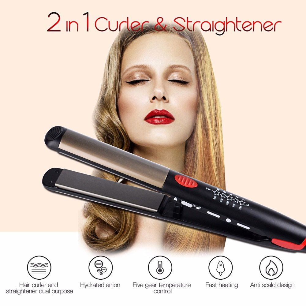 110-240V Ceramic Hair Straightening Iron Flat Iron LED Hair Tools Professional <font><b>Curling</b></font> Hair Straightener Curler Electric Irons