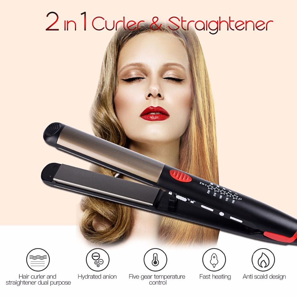 110-240V <font><b>Ceramic</b></font> Hair Straightening Iron Flat Iron LED Hair Tools Professional Curling Hair Straightener Curler Electric Irons