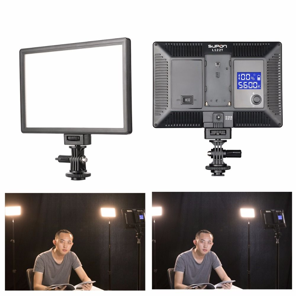 SUPON L122T LED Lamp On-Camera Video Light Photography Studio Lighting 3300~5600K for Photo DSLR Camera Camcorder mini DVR