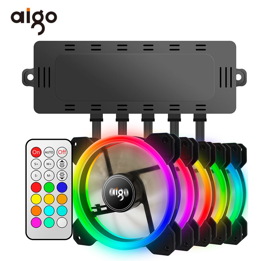 Aigo DR12 Double Aura RGB Pc Fan 12v 6 Pin 120mm Cooling Fan For Computer Silent Gaming Case Cooler Fan With Controller am3 am4