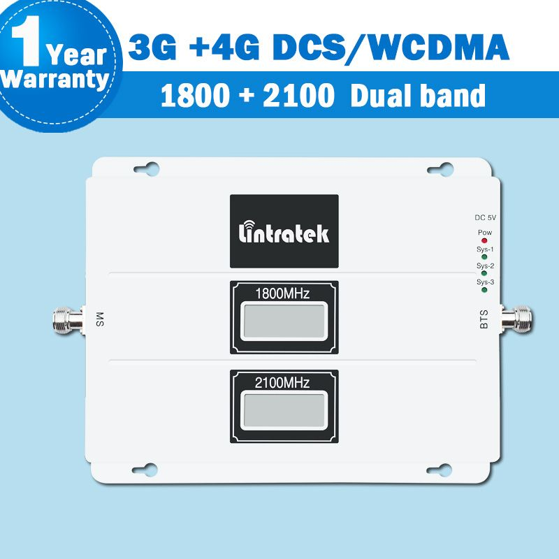 Lintratek 3G 4G WCDMA/DCS/LTE Signal Dual Band Repeater Amplifier LCD Display 1800/2100 Mobile Phone Cellular Signal Booster S26