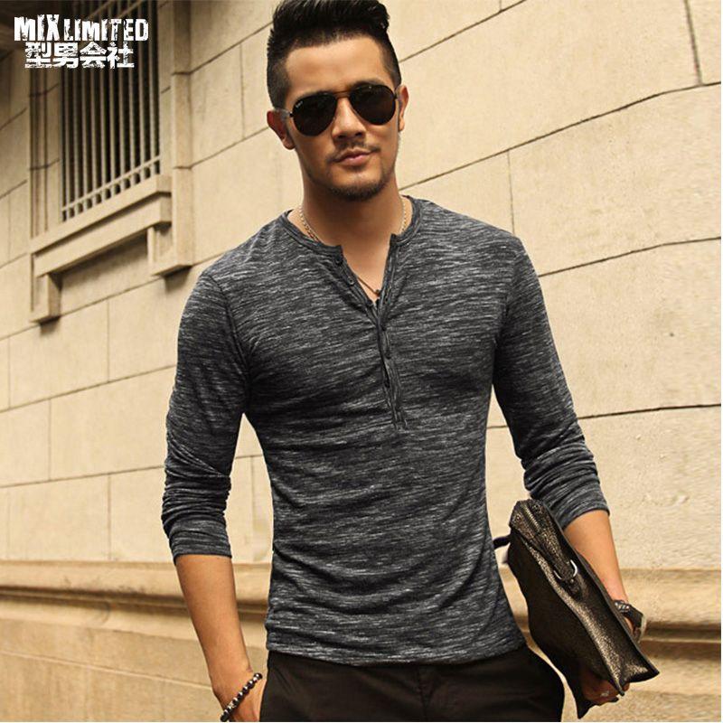 New Men Henley Shirt 2018 new Tee Tops Long Sleeve Stylish Slim Fit T-shirt Button placket Casual men <font><b>Outwears</b></font> Popular Design