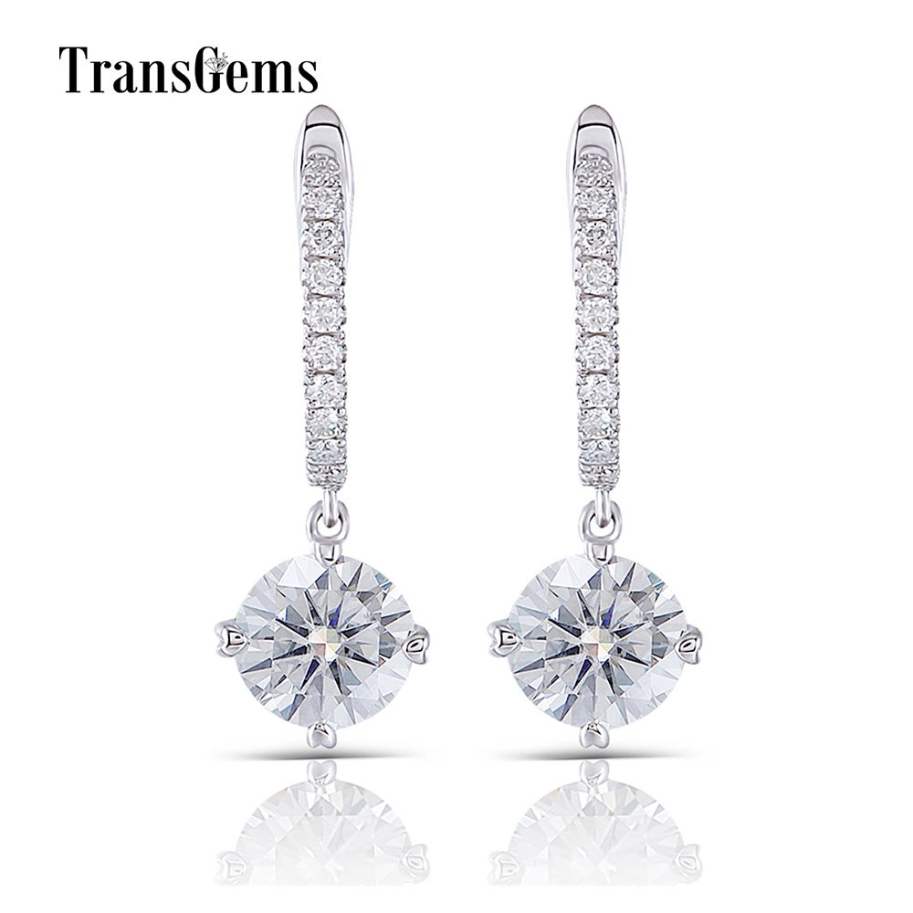 Transgems 14K 585 White Gold 2CTW Center 6.5mm 1ct FGH Color Clear Moissanite Drop Earrings Gold with Accents for Women