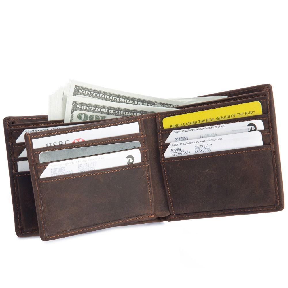 Echtem Rindsleder herren Crazy Horse Kurze Brieftasche Kleine Herozontal Geldbörse Karte Einbauschlitz-foto-halter 6005