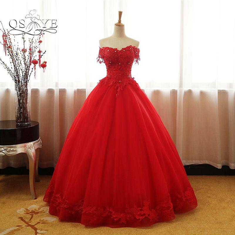 QSYYE 2018 Vintage Red Ballkleid Brautkleider Elegante Off schulter 3D Spitze Perlen Bodenlangen Tüll Abendgesellschaft Kleid benutzerdefinierte