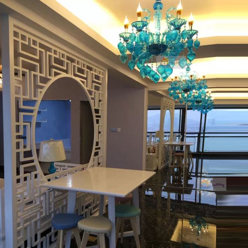 Hotel lighting Italy modern lamp personality stair Great Long Crystal Spider blue glass foyer Hospitality Lighting Project