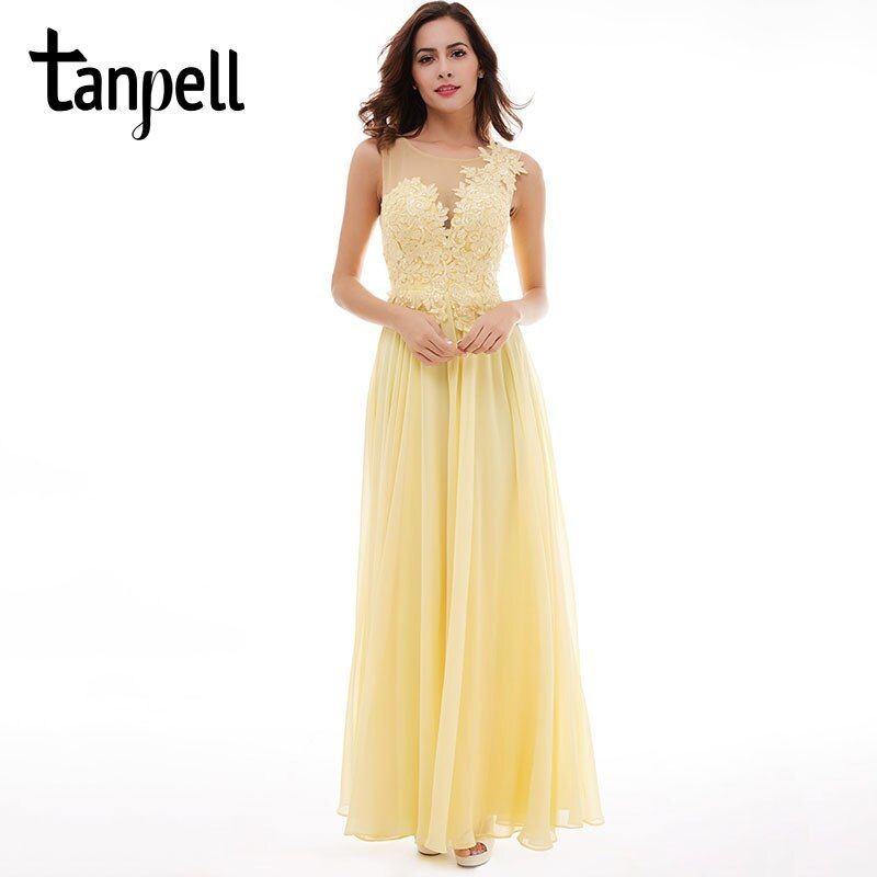 Tanpell lace up long bridesmaid dress sexy black scoop sleeveless appliques floor length dress daffodil wedding bridesmaid dress
