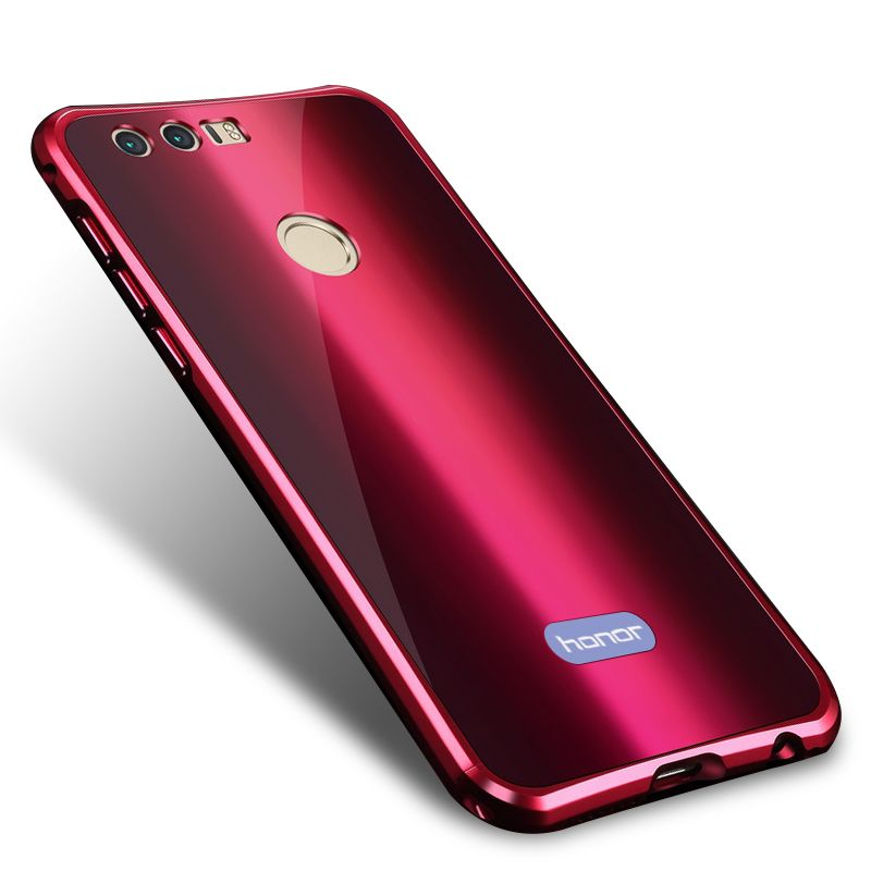 Luxury Colorful Electroplated Metal Bumper + Acrylic Back Cover Case For Huawei Honor 8 Slim Hard Full Protection Phone Cases