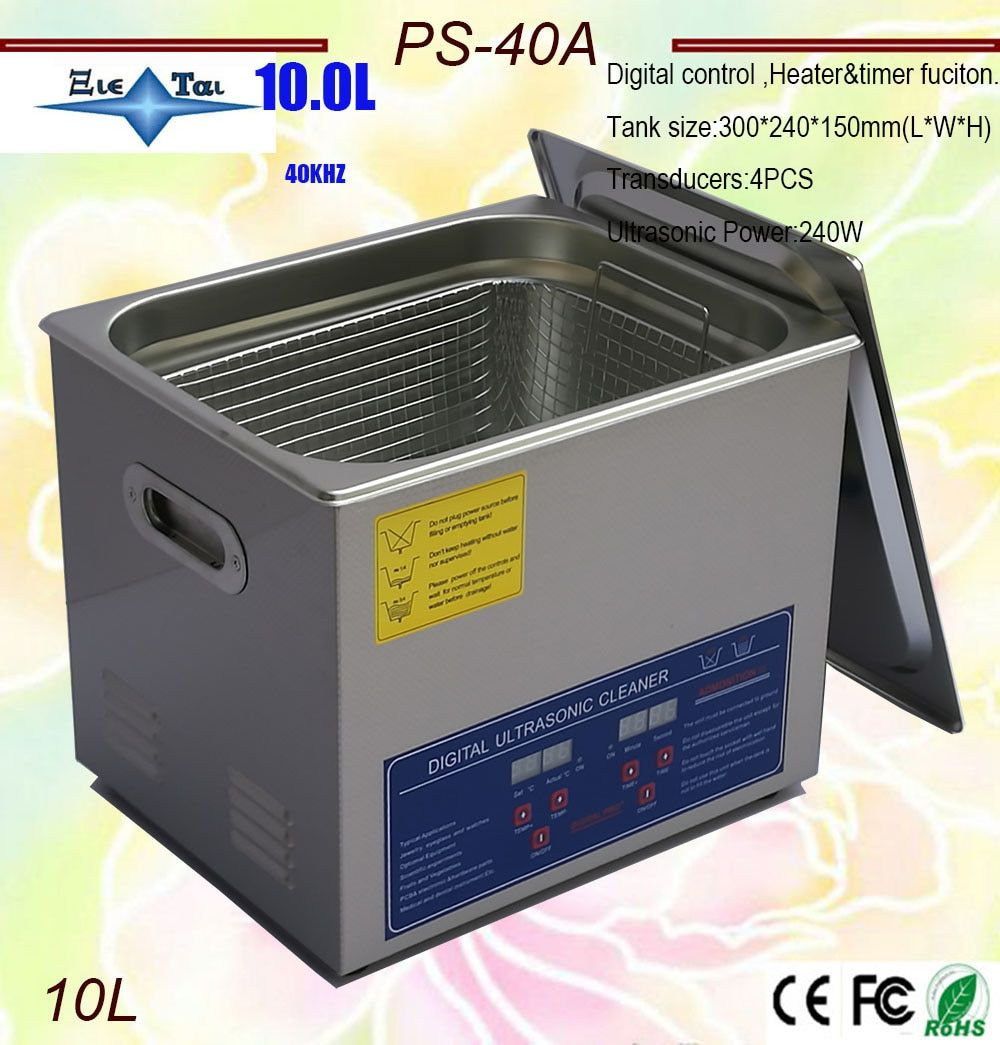 Free shipping Russia warehouse in stock AC110/220 digital Ultrasonic cleaner 10L 240W PS-40A timer & heater hardware parts