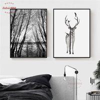 Estilo nórdico bosque lona pintura cartel de ciervos pared para sala de carteles y las huellas de la decoración de la pared de BW001