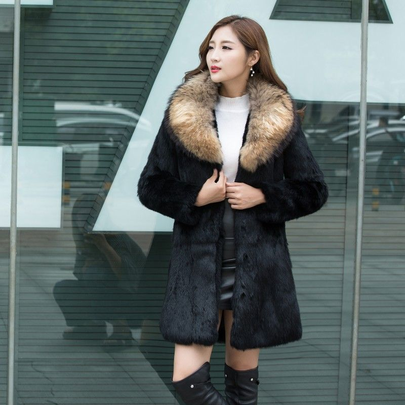 Large real fox fur collar fashion whole skin natural rabbit fur jackets women plus size genuine fur coats outerwear 2018 winter
