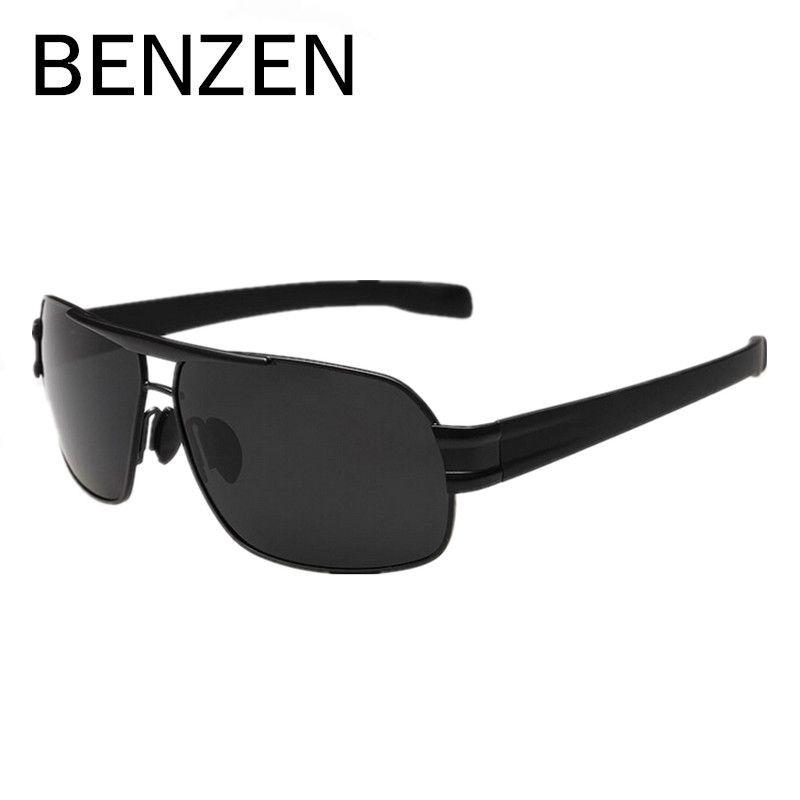 Бензола Для мужчин поляризованных солнцезащитных очков сплава мужской вождения солнцезащитные очки Рыбалка очки óculos де Masculino Sol с случае ...