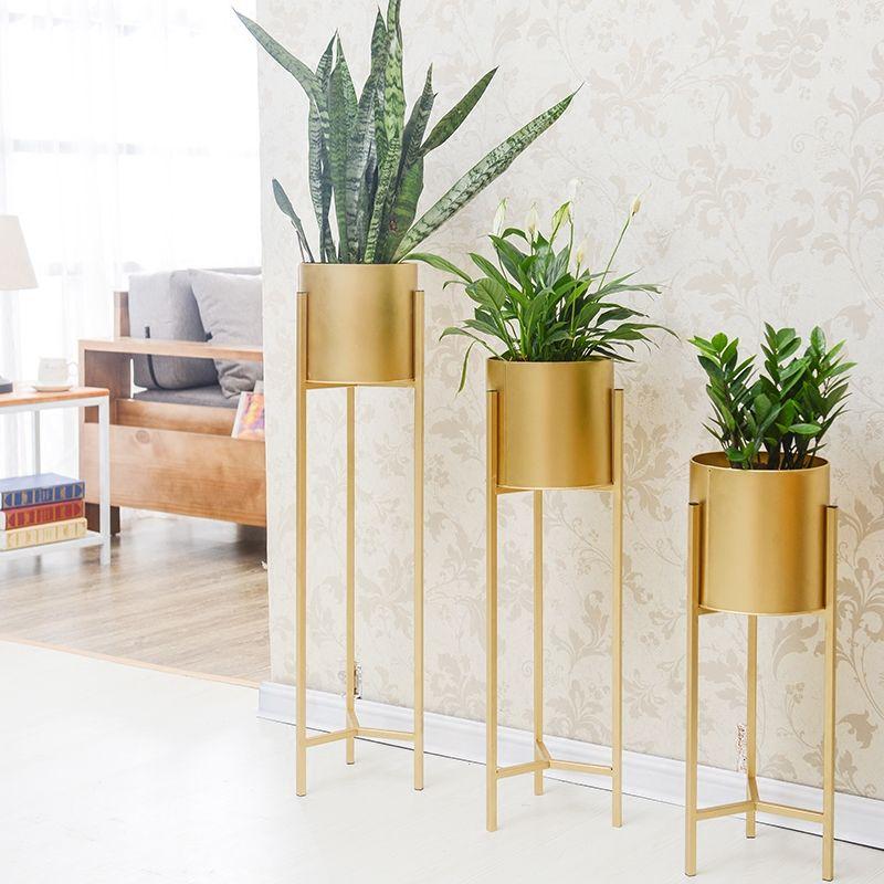 Gold Eisen Rack Halter Blumenvase Sukkulenten Kraut Topf Metallständer Pflanzer